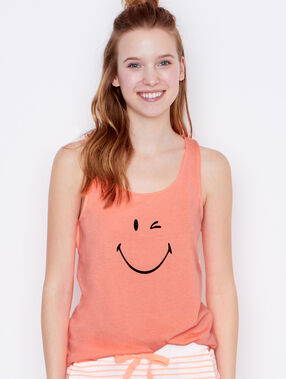 Top estampado smiley naranja.