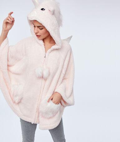 Poncho licorne à capuche rose.