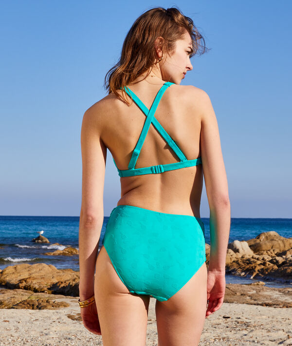 Braguita bikini talle alto, jacquard piñas;${refinementColor}