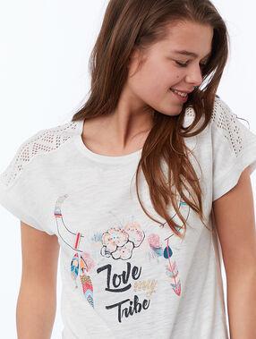 Camiseta estampado étnico blanco.