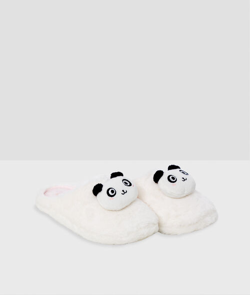 Zapatillas tejido peluche oso panda