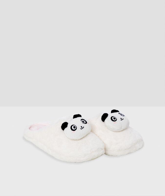 Zapatillas tejido peluche oso panda crudo.