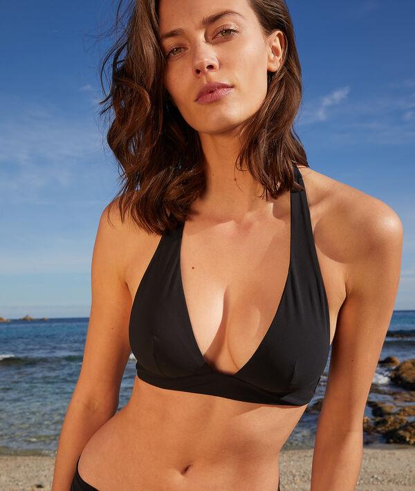 Sujetador bikini triángulo, anudado al cuello;${refinementColor}