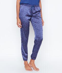 Pantalón satén estampado azul.