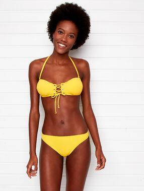Sujetador bikini tirantes extraíbles cordones cruzados amarillo.