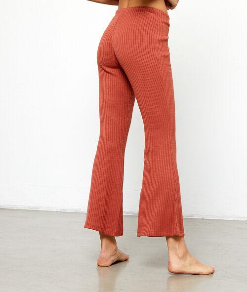 Pantalón ancho tejido canalé