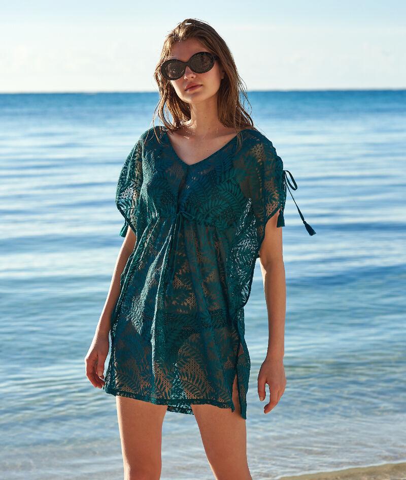 Túnica de playa estampado de hojas;${refinementColor}
