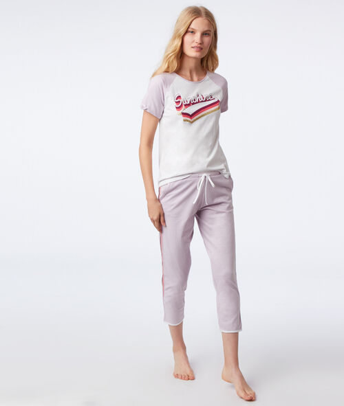 Pantalón capri franjas contrastadas