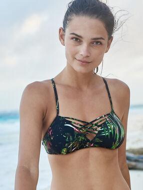 Sujetador bikini tipo top estampado tropical c.gris.