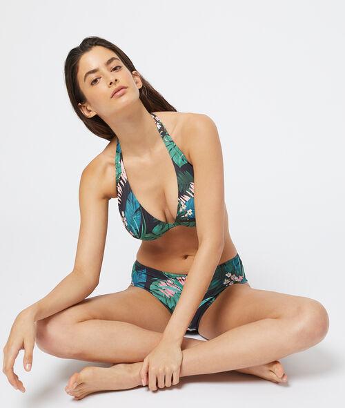 Sujetador bikini sin relleno estampado tropical. Copa C-E