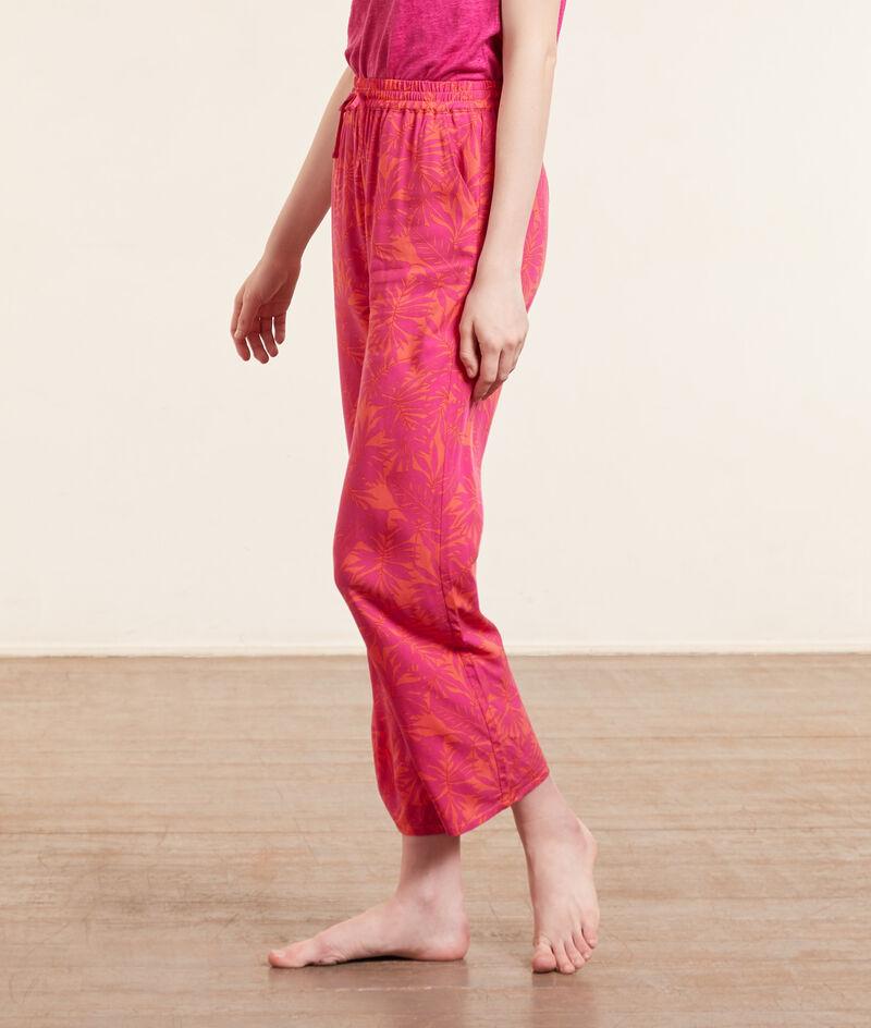 Pantalón pijama 7/8 estampado tropical;${refinementColor}