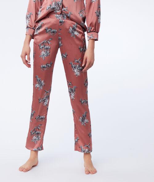 Pantalón satén estampado cebras
