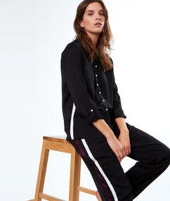 Pantalón franja contrastada negro.