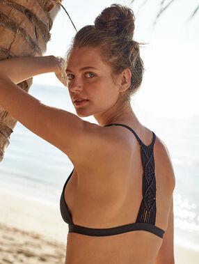 Sujetador bikini triangular espalda trenzada negro.