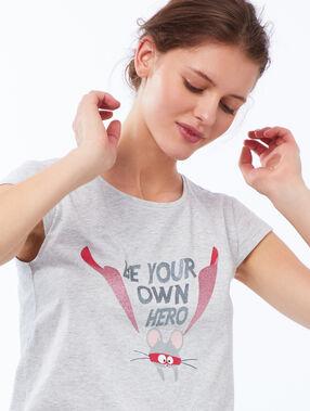 Camiseta manga corta estampado ratón c.gris.