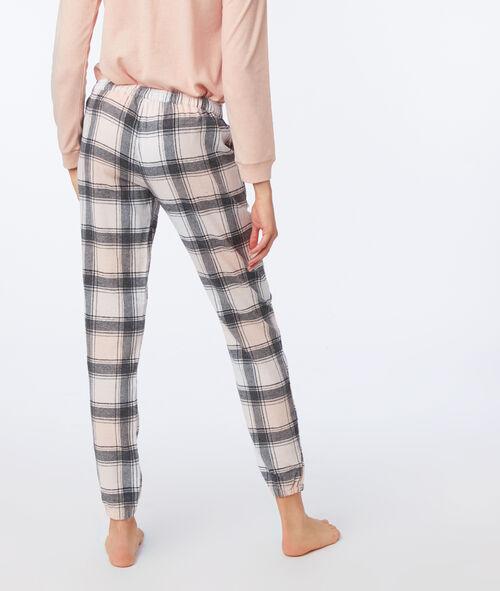 Pantalón algodón estampado de cuadros