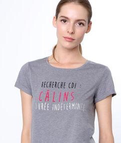 Camiseta con mensaje estampado c.gris.