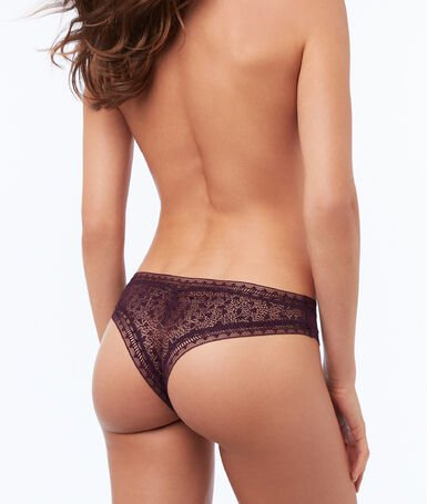 Tanga dos texturas violeta.