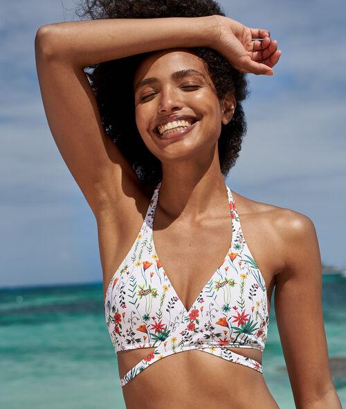 Sujetador bikini triangular estampado floral