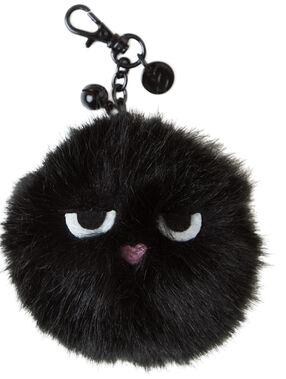 Llavero bola de pelos negro.