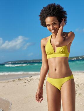 Sujetador bikini triangular liso amarillo.