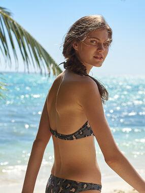 Sujetador bikini push up estampado de leopardo. copa b caqui.