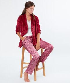 Pijama 3 piezas satén rojo.