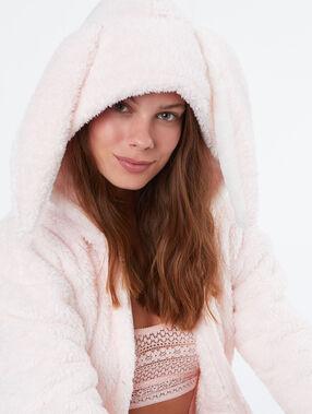 Chaqueta tejido peluche conejo rosa.