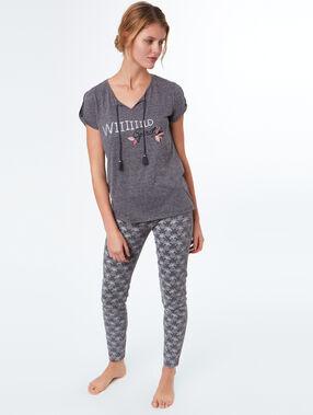 Camiseta manga corta con mensaje c.gris.