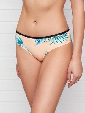 Braguita bikini estampado tropical melocotón.