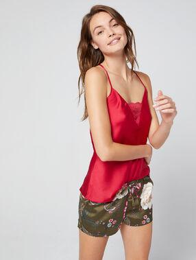 Pantalón corto de satén estampado floral caqui.