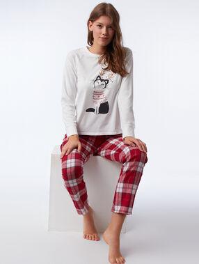 Pijama 3 piezas motivos navideños rosa.