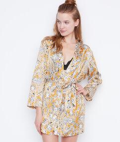 Kimono satén estampado amarillo.