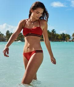 Braguita bikini franja multicolor rojo teja.