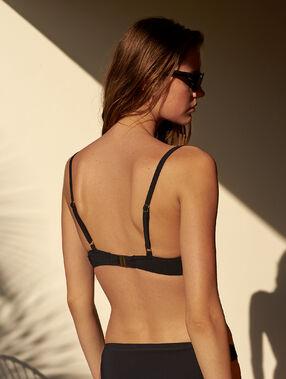Sujetador bikini push up con tiras decorativas. copa b negro.