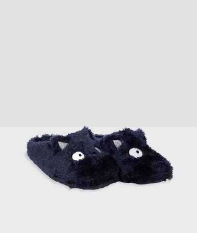 Zapatillas tejido peluche gato azul marino.