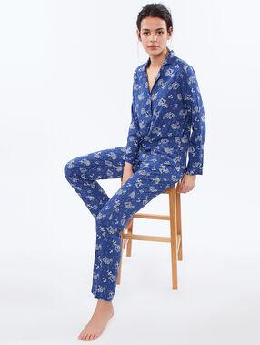 Camisa pijama estampado cachemira azul.