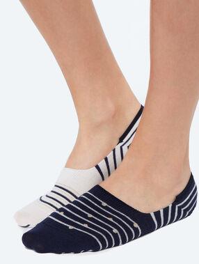 2 calcetines tobilleros estampados azul marino.