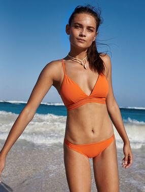 Sujetador bikini triangular naranja.