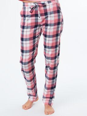 Pantalón estampado a cuadros rosa.