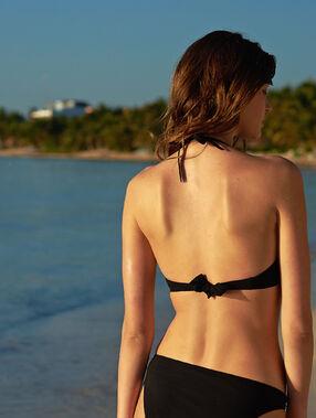 Sujetador bikini triangular escote tiras cruzadas negro.