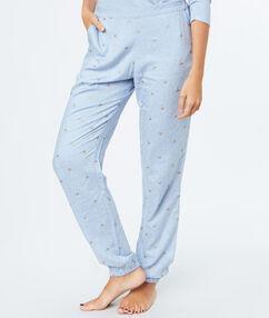 Pantalón estampado unicornios azul.