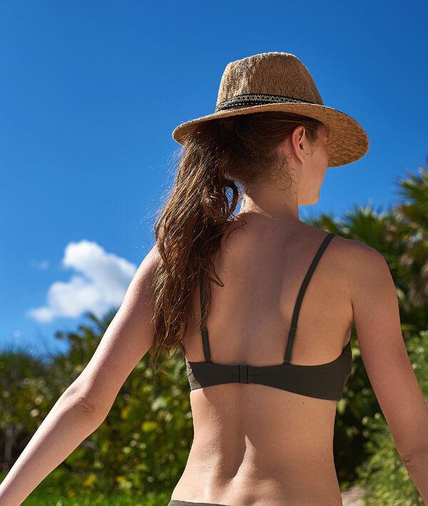 Sujetador bikini bandeau tiras cruzadas en el escote