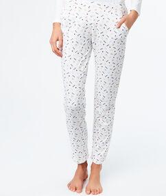 Pantalón pijama estampado blanco.