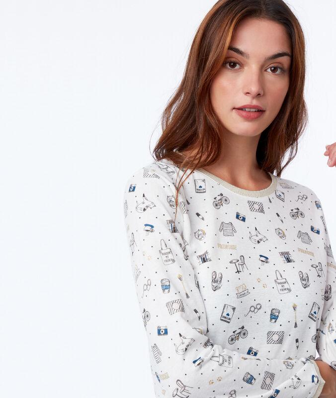 Chemise de nuit à motifs ecru.