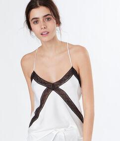 Top lingerie dentelle contrastée blanc.