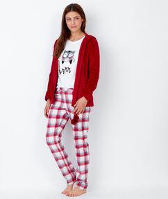 Pijama 3 piezas. pantalón estampado a cuadros y chaqueta tacto polar rojo.