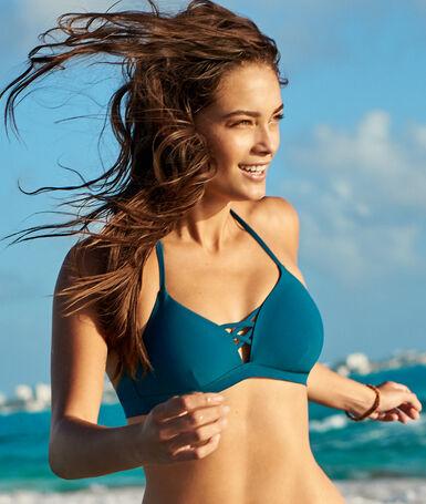 Sujetador bikini triangular cordones cruzados azul/verde.