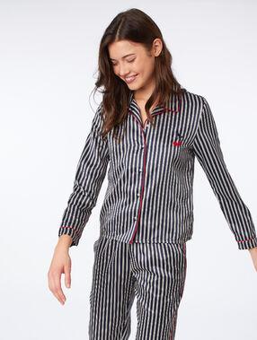 Camisa pijama estampado de rayas azul  noche.