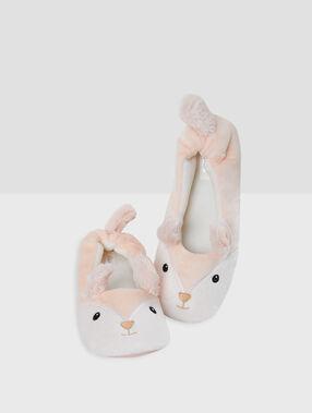 Zapatillas tipo bailarina conejitos rosa.